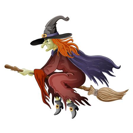 bruja sexy: Ilustraci�n de la bruja de Halloween volar en escoba Vectores
