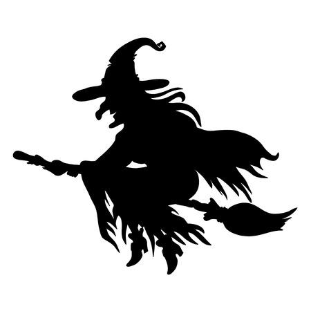 vampire bats: Halloween witch. Silhouette. Illustration