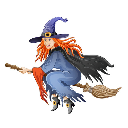 Illustration of Halloween witch flying on broom Vector