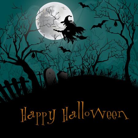 brujas caricatura: Antecedentes feliz Halloween.