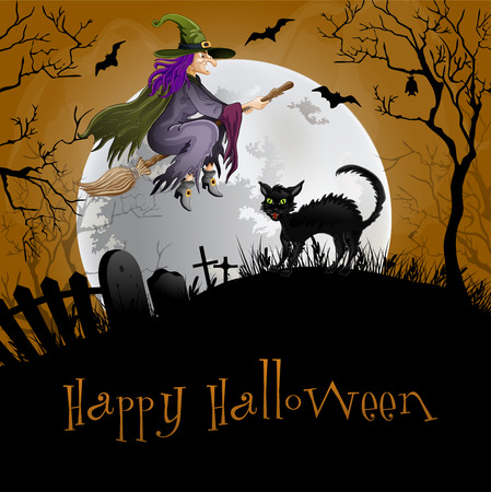 Halloween Party Background.Cat and witch . Vector