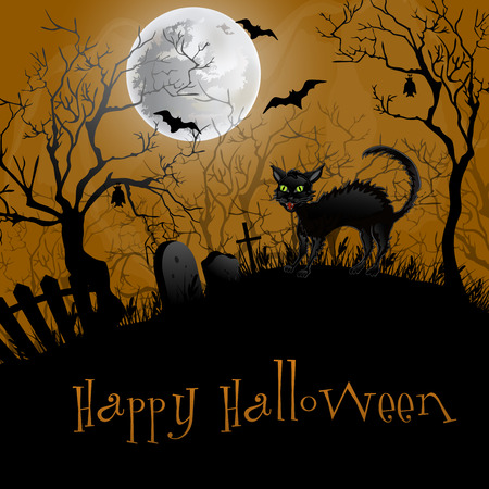 Halloween Party Background.Illustration with  cat . Vector
