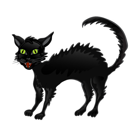 Black Halloween cat Illustration