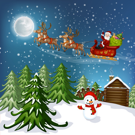 snowy hill: Santa Claus in sleigh with reindeer
