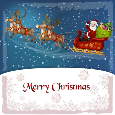 santa funny: Santa-Claus on sleigh with reindeer