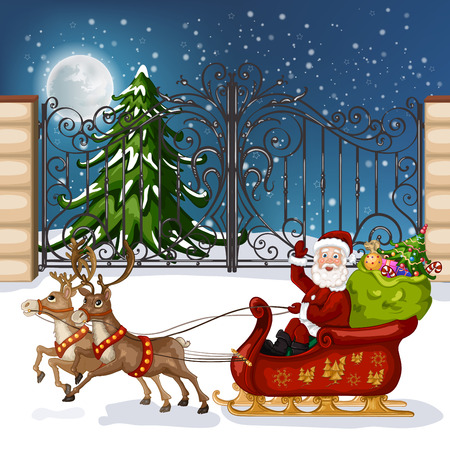Santa Claus in sleigh with reindeer
