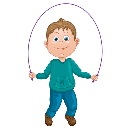 Cartoon illustration of a boy jumping rope Illustration