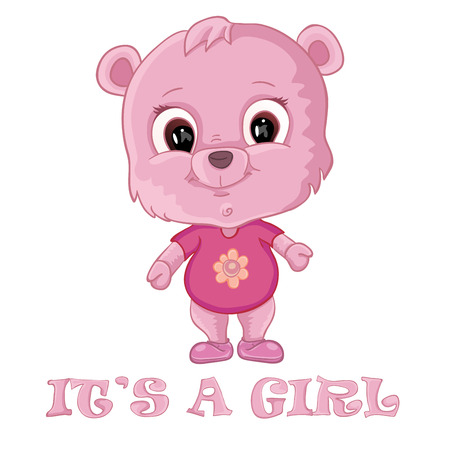 baby bear: Baby girl shower card with cute bear Illustration