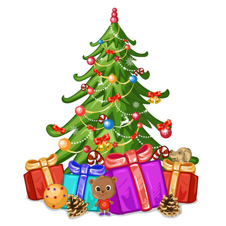 decorated christmas tree: Decorated Christmas tree and presents