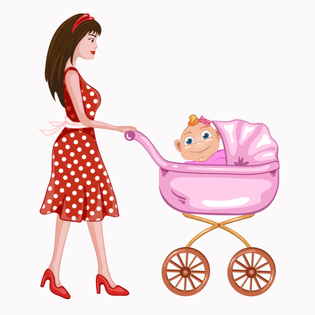 Young mother with pink baby carriage