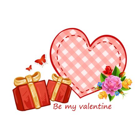 花とプレゼント バレンタイン カード