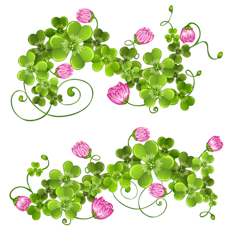 leafed: Branches with clover.Floral decoration.