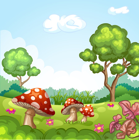 fairy toadstool: Beautiful landscape with mushrooms and flowers.