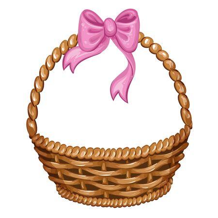 wicker basket: Illustration of wicker basket with pink ribbon Illustration