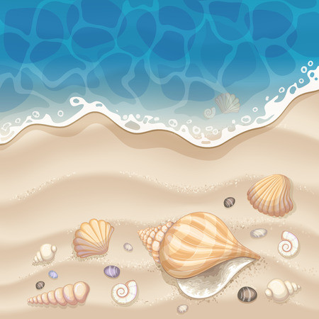 footprint sand: Summer holiday background Illustration