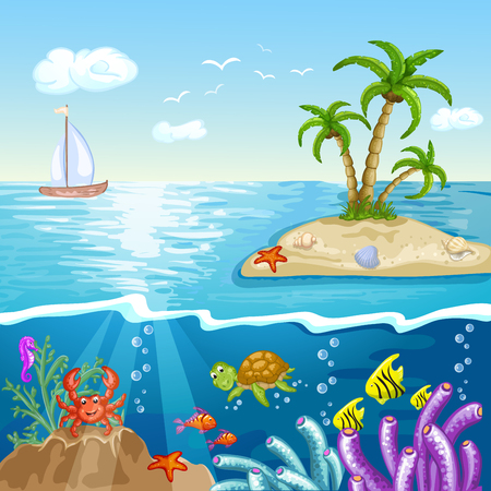 under water grass: Summer postcard with island