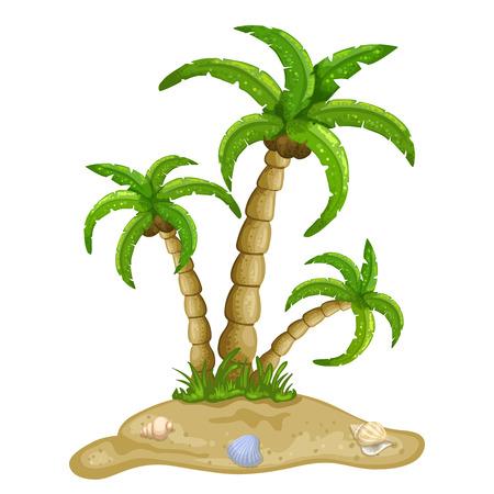 ヤシの木で南国の島のイラスト