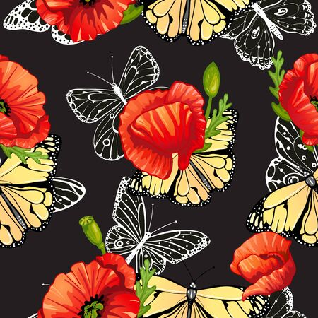 poppies: Seamless pattern of butterflies and poppies Illustration