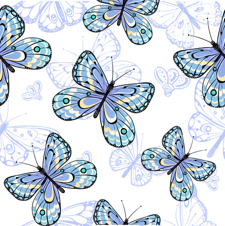 Seamless pattern of butterflies 矢量图像