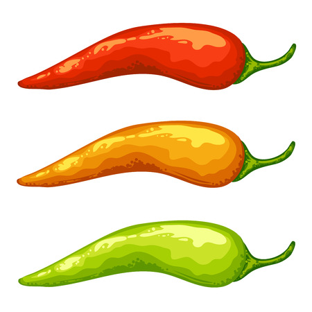 Red yellow green hot chili peppers on white .