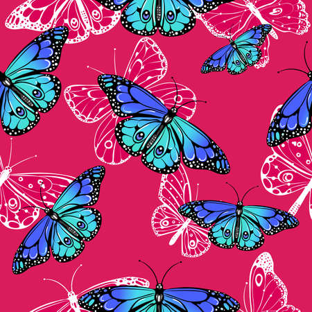 Seamless pattern of butterflies Illustration