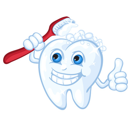 Cute cartoon tooth and toothbrush Çizim