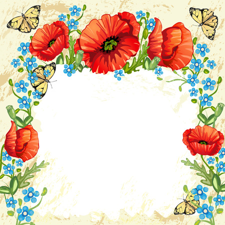 poppies: Background with poppies and butterflies