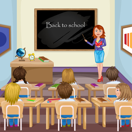 teacher classroom: Illustration of kids studying in classroom with teacher