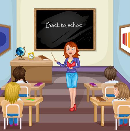teacher teaching: Illustration of kids studying  in classroom with teacher Illustration