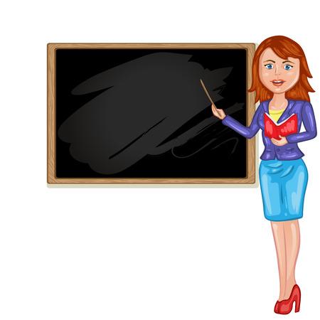 Teacher in front of blackboard Illustration