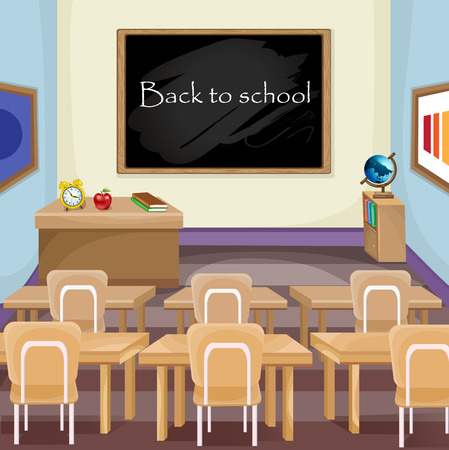 students in classroom: Illustration of an empty classroom