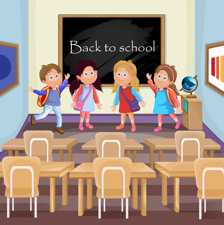 students in classroom: Illustration of kids in classroom in the school