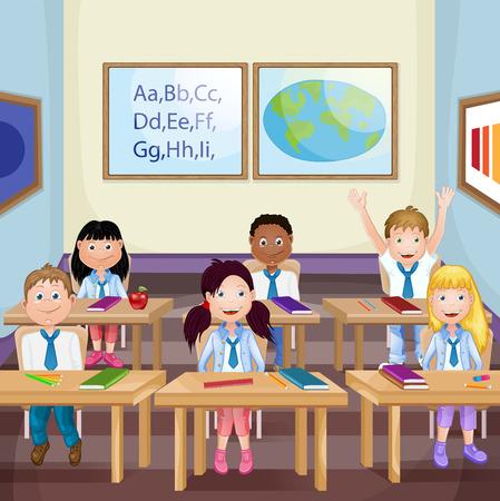 escritorio: Niños en edad escolar en el aula de clase Vectores