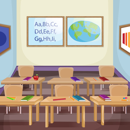 students in class: Illustration of an empty classroom
