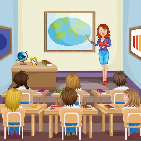 Illustration des enfants qui étudient en classe avec l'enseignant Banque d'images - 41929190