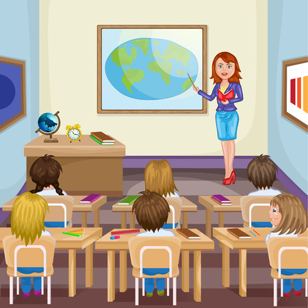 Illustration of kids studying  in classroom with teacher Çizim