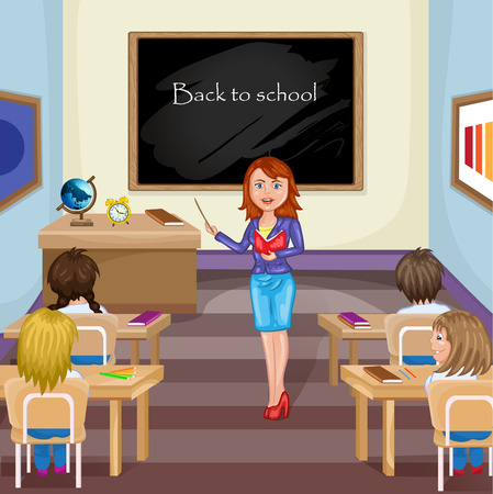 classmate: Illustration of kids studying  in classroom with teacher Illustration