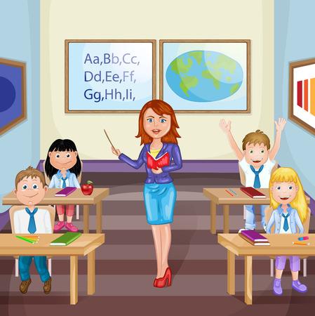 estudiando: Ilustración de los niños que estudian en el aula con el profesor