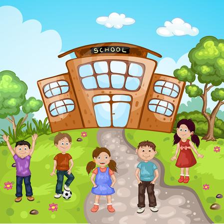 校舎の前に子供たちのイラスト
