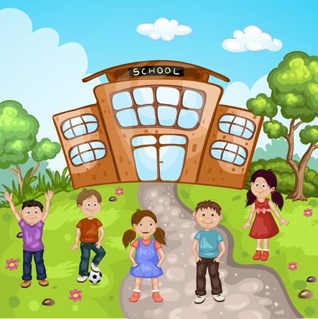 Illustration of a kids in front of school building Illustration