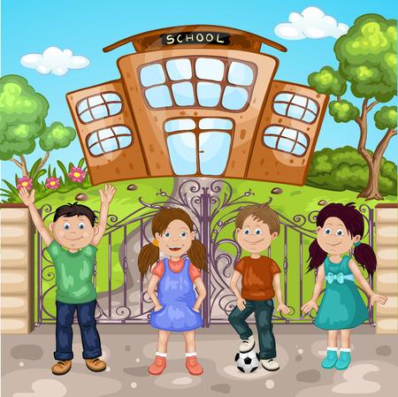classmate: Illustration of a kids in front of school building Illustration