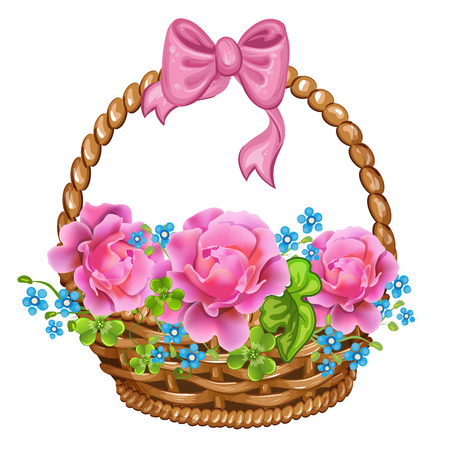 bast basket: Basket with pink roses.