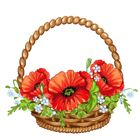 poppies: Basket with poppies