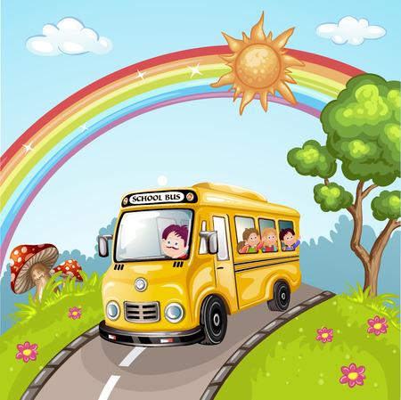 子供たちと自然の中の学校のバスのイラスト  イラスト・ベクター素材