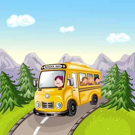 mountain cartoon: Illustration of kids and school bus in nature