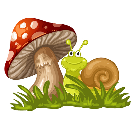Snail stand under the mushroom