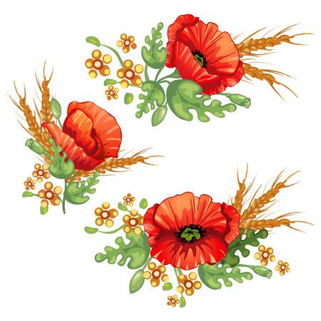 Bouquet de fleurs .red coquelicots fleurs et d'épis de blé