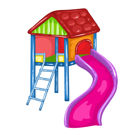 toy house: Illustration of a toy house at the park with a slide