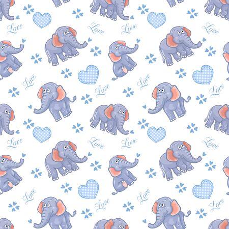 シームレスな象の子供パターン