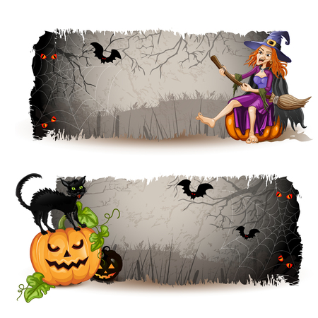 ripped paper background: Halloween banners with witch and pumpkin